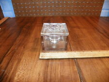 Vintage 1895 Clear Glass Sqaure Inkwell w Lid