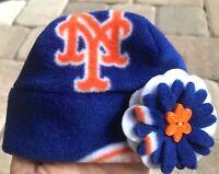 c2191552f3c New York Mets fleece Flower Hat Sizes Newborn Baby Girls Children Adult  Women