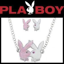 Playboy Jewelry Set Necklace Earrings Bunny Logo Silver Pink Crystal NIB NWT y5