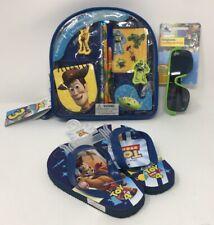 Disney Pixar Toy Story School Set, Flip-Flop (Size 9/10), and Sunglasses Bundle