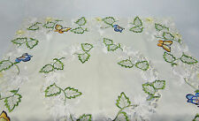 "VTG Embroidered TABLECLOTH 32"" x 32"" BUTTERFLIES & DAISY Flowers Cutwork Lace"