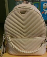 Victoria Secret Pebbled Mini Backpack Purse V Quilted Pink With Gold Hardwear