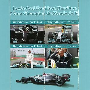 Chad Sports Stamps 2020 CTO Lewis Hamilton Formula 1 F1 Racing People 4v M/S