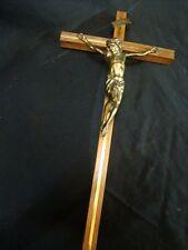 Kreuz Kruzifix Jesus Christus Corpus INRI in Eiche + Messing  50cm hoch B 25cm