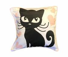 Wide Eye Black Cat Heart Throw Pillow 18 x 18