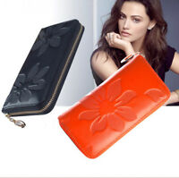 New Simple real leather clutch women wallets purse long card holder zip handbag