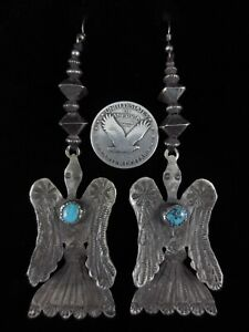 Vintage Navajo Earrings - Silver and Turquoise - Peyote Birds