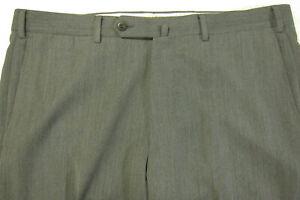 GORGEOUS Ermenegildo Zegna Flat Front Gray Twill Wool Dress Pants 38W 38 x 30