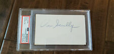 JERRY DOGGETT & VIN SCULLY SIGNED INDEX CARDS BROOKLYN LOS ANGELES DODGERS PSA
