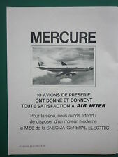 10/1976 PUB AVIONS MARCEL DASSAULT MERCURE AIRLINER AIR INTER AIRLINE FRENCH AD