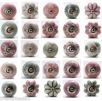 These Please Pink White Green Ceramic Door Knobs Handles Drawer Pulls Cupboard