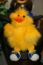 "Large 17"" 1988 Vtg GANZ Yellow Fuzzy Squeaking Duck Boy MICKEY Shoes Easter #A3"
