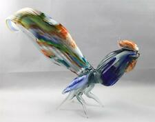 Murano Italian Art Splatter Glass Rooster Chicken Bird Figurine -- Large