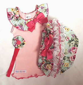 New Baby Rose Flower Bloomers Frilly Ruffles Girls Set Bow Head Band Pink Cotton