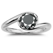 925 Sterling Silver Wedding Ring 2.67+ Ct Black Moissanite Solitaire Diamond