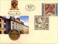 Numisbrief Österreich 1994 '800 Jahre Münze - Wien' 20,- Münze 6,- S Marke Erstt