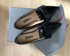 Super Sexy Prada Flat Schuhe Loafer Gr.37 Schwarz Leder