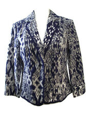 Coldwater Creek Petite Womens Dress Jacket Blue White Floral Career Size 10P