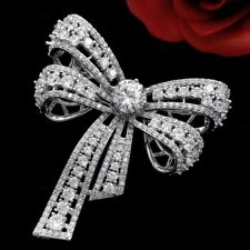 Chic Vintage Silver Tone Micro Pave CZ Bowknot Bow Brooch Pin Victorian Jewelry