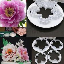 4Pcs Peony Flower Petal Fondant Sugarcraft Cake Cookie Cutter Mold Decor Mould