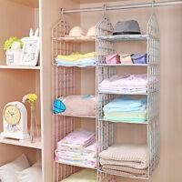 Wardrobe Clothes Storage Metal Hanger Hanging Closet Organizer Shelf Rack w/
