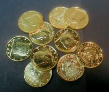 Ten Different Gold Plated Kennedy Half Dollars No Reserve