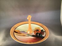 ANTIQUE LUSTERWARE TIDBIT TRAY NORITAKE CHIKARAMACHI LAKE TREES HAND-PAINTED MIJ