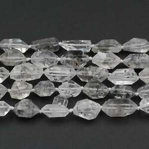 "Natural Rough Tibetan Quartz Double Terminated Freeform Crystal Beads 16"" Strand"