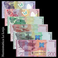 B-D-M St Thomas & Prince 5 10 20 50 100 200 Dobras 2016 (2018) Pick 70-75 UNC