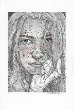 original drawing 20 x 30 cm 150SAn art samovar ink female portrait Signed 2021