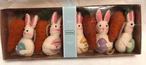 Spring Easter Bunny Carrot Garland 6ft Farmhouse Burlap Felt Begonia Market NEW