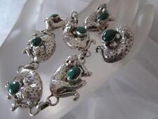 Vintage Carol Felley 3D Leopard Malachite Sterling Silver Set Bracelet&Earrings