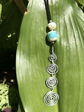 "Artisan Spiral Necklace & Handmade Ceramic Beads, Hammered Metal, 6"" Long, NEW"