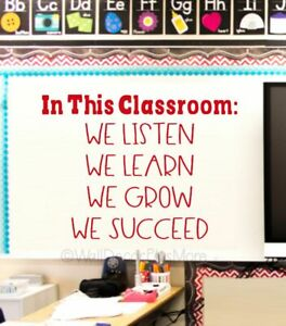 Classroom Wall Stickers We Learn Grow Succeed School Decor Decal Quote Art