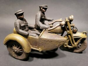 Antique Vintage Style Cast Iron Toy Motorcycle Police Patrol w Side Car