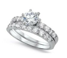 100% Genuine 925 Sterling Silver Sim Diamond Wedding Engagement Ring Set Size 6