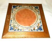 Vintage Ceramic 8 x 8 Tile Trivet in Wood Base Orange & Blue  70's design, Retro