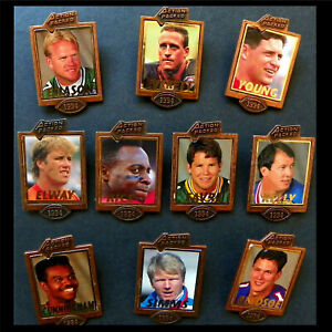 NFL Football Star Button Pins '94, Lot Of 10, Elway, Rice, Kelly, Favre, Esiason
