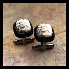 New Cufflinks Resin Cameo Blacktone Setting Black White Roman Soldier G69