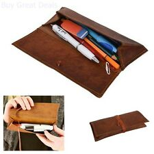 Leather Pencil Case Genuine Stationery Pen Case Art Pouch Office College New
