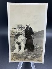 Original 1930's Photo Us Sailor Chinese Landmark Unknown Location-One Of Kind