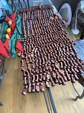 Vintage Lot Of 329 Lincoln Logs Wood Pieces 1,2,3,4 Notch , Flats , Roof , Steps