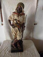 Joseph LE GULUCHE (1849-1915) Guerrier Kabyle Terre cuite polychrome - Haut 75cm