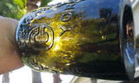 1860'S ANTIQUE BLACK GLASS  CLARKE & WHITE, SARATOGA QUART SIZE WATER BOTTLE!!!!