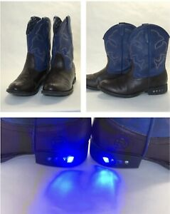 Boys Size 1 Light Up Roper Boots Blue Brown Cowboy Western Ranch Style Ropers