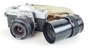Minolta SRT-101 CLC Vintage 35mm Camera with MD Telephoto Tele Rokkor PF Lens Lo