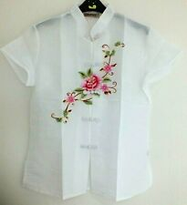 CHINESE WHITE PINK PEONY WOMEN TOP BLOUSE JACKET DRESS UK SIZE 10-12 US 6 EU 40