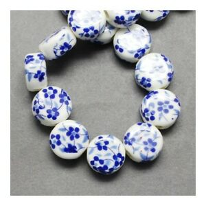White/Dark Blue Porcelain Beads Puffy Coin 7x12mm Pack Of 10