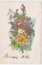 CPA FANTAISIE Bonne fête boutons de rose jaune et rose paillettes argentées