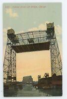Halstead Street Lift Bridge, Docks Wharf CHICAGO IL Vintage Illinois Postcard